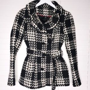 WHBM Ruffle Neck Houndstooth Belted Pea Coat